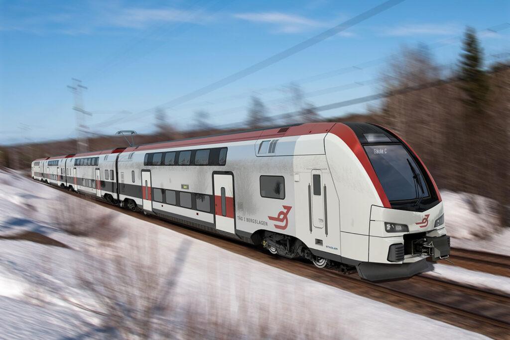 Tåg i Bergslagen planerar att köpa in tåg av modellen 4-vagnars Dosto från Stadler. Bilden är ett fotomontage.