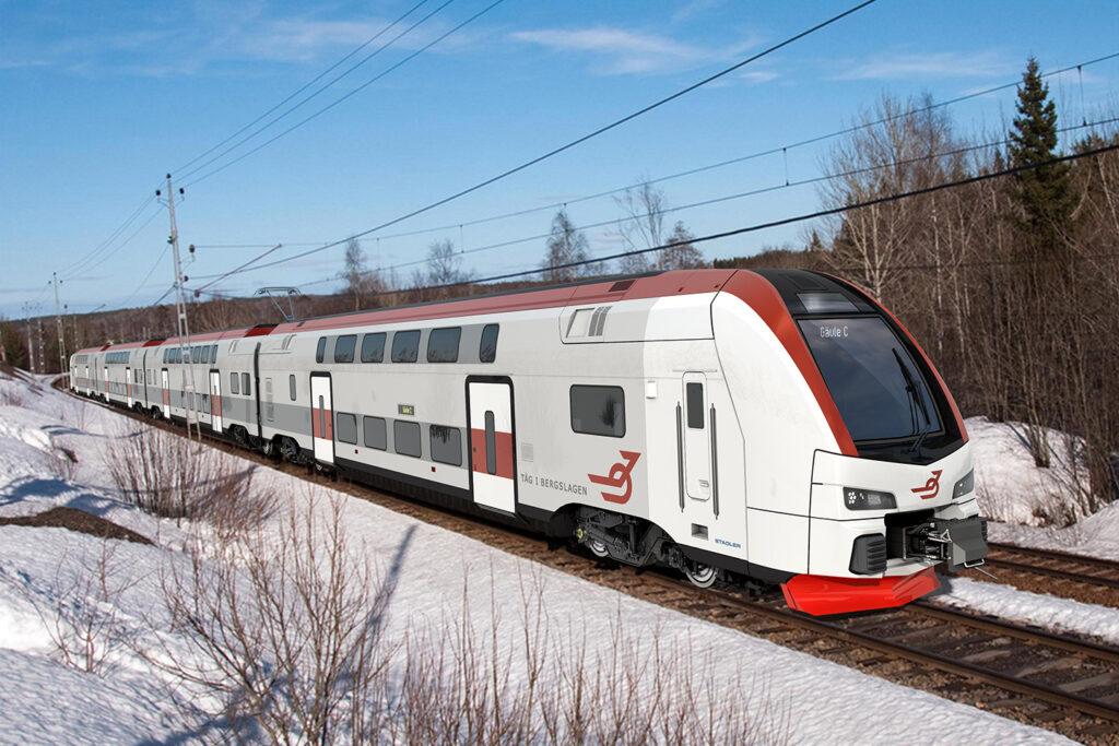 De nya tågen har två våningar ocg fyra vagnar. (fotomontage)